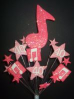 Music notes 40th birthday cake topper decoration in shades of pink - free postage